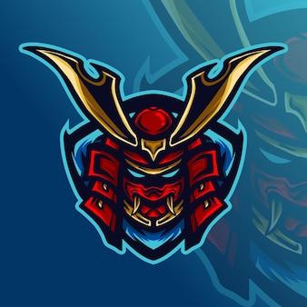 삽화 그림 및 티셔츠 디자인 사무라이 e 스포츠 로고