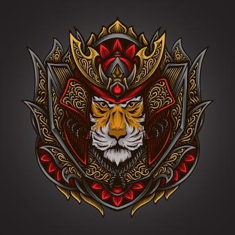 Иллюстрация искусства и дизайн футболки самурай тигр гравировка орнамент
