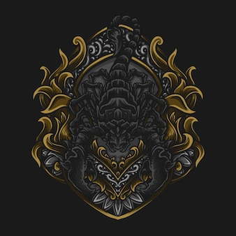 Иллюстрация искусства и дизайн футболки гравировка скорпиона орнамент