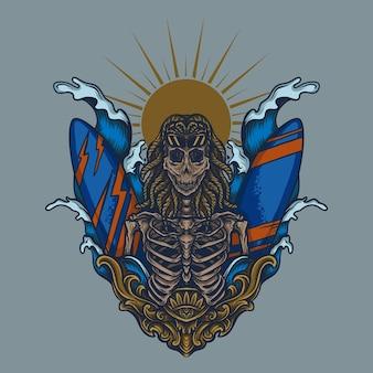 アートワークイラストとtシャツデザインスケルトンサーファー彫刻飾り