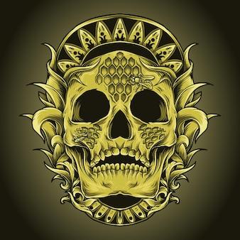 Иллюстрация искусства и дизайн футболки череп медоносная пчела улей гравюра орнамент