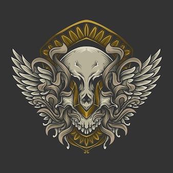 천사 날개 조각 장식이 있는 삽화 삽화와 티셔츠 디자인 해골