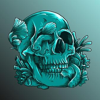 アートワークのイラストとベータ魚とtシャツのデザインの頭蓋骨