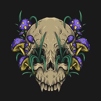 버섯과 삽화 삽화와 티셔츠 디자인 해골
