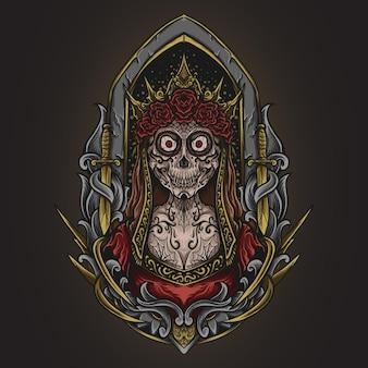 Иллюстрация искусства и дизайн футболки череп женщины сахарный череп гравировка орнамент