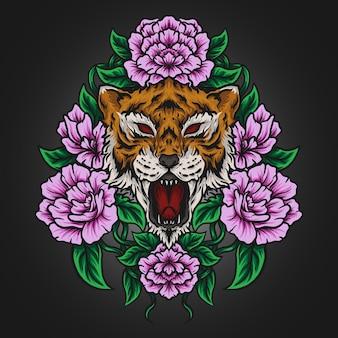 アートワークイラストとtシャツのデザイン虎とバラ