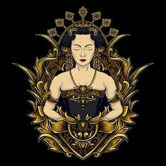 アートワークのイラストとtシャツのデザインの伝統的なジャワの衣装の彫刻