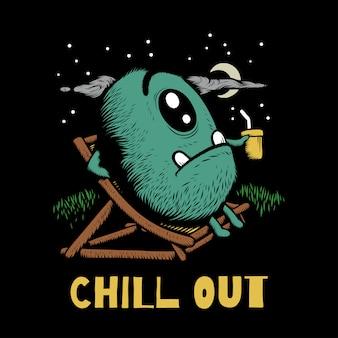 Artwork illustration design of chill out doodle monster