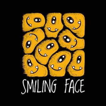 Artwork illustration design of smiling face funny doodle monster