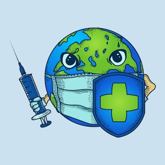 Artwork illustration earth with masks, injections and shields to fight viruses