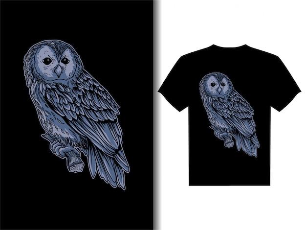 Tシャツデザインフクロウのアートワークイラスト