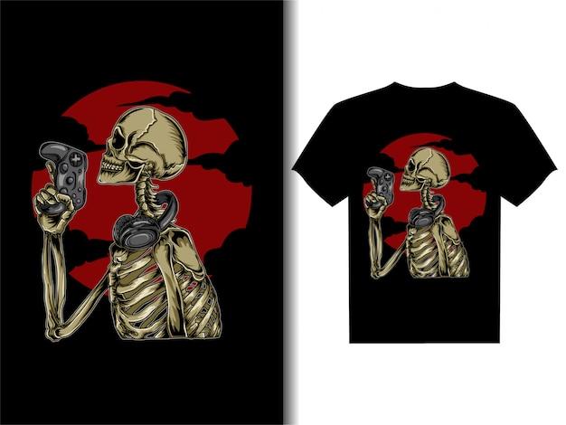Tシャツデザインスケルトンゲーマーのアートワークイラスト