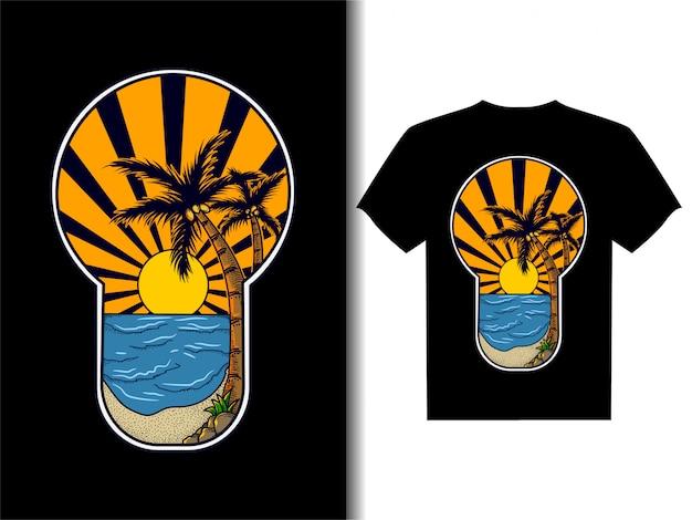 Tシャツデザインのアートワークイラスト、ビーチでの夕日