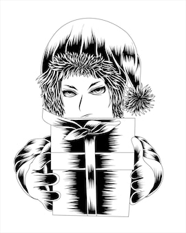Artwork illustration girl in santa claus costume gives a gift box vector black and white silhouette