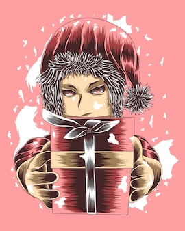 Artwork illustration girl in santa claus costume gives a gift box vector