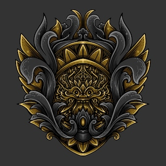 삽화 삽화 황금 barong 조각 장식