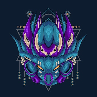 Artwork illustration and horned robot with sacred geometry
