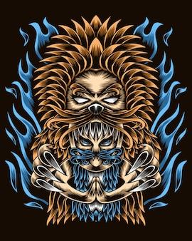 アートワークイラストライオンの能力を持つ人間