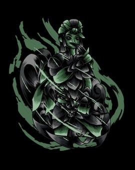 검은 칼 벡터와 암살자의 삽화 그림