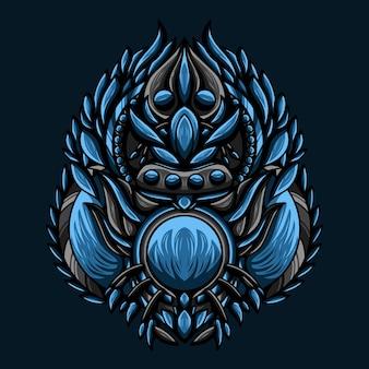 ブルーウォーターモンスターベクトルのアートワークイラスト