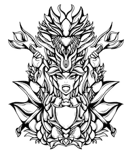 Иллюстрация иллюстрации воина дракона черно-белый силуэт