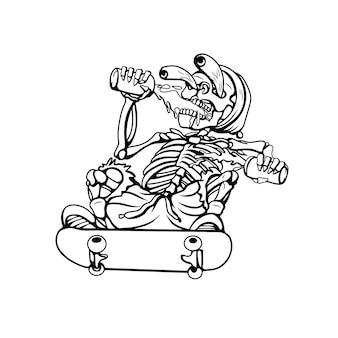 황금 해골 흑백 실루엣의 삽화 그림
