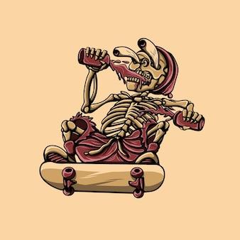 황금 해골 벡터의 삽화 그림