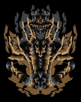 Иллюстрация произведения искусства воина с вектором золотые доспехи