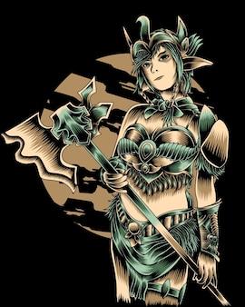 Иллюстрация произведения искусства женщины с вектором ужасный топор