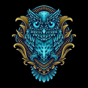 Иллюстрация совы в гравюре орнамент