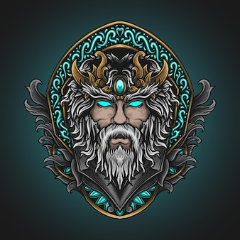 Artwork illustration and t shirt design beauty zeus head in engraving ornament
