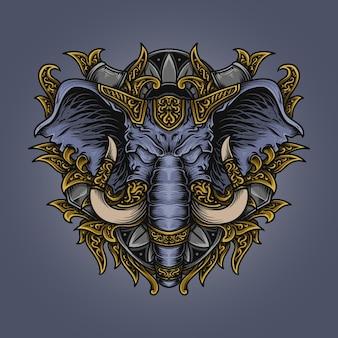 Artwork illustration and t shirt design of elephant engraving ornament
