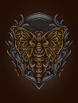 Artwork illustration and t shirt design golden elephant butterfly engraving ornament