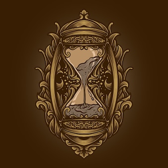 Artwork illustration and t shirt design hourglass engraving ornament