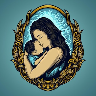 Artwork illustration and t-shirt design mother and baby for mothers day engraving ornament