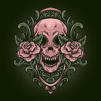 Artwork illustration and t shirt design red and gold skull and rose engraving ornament