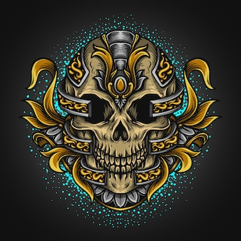 Artwork illustration and t shirt design skull and engraving ornament