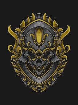 Artwork illustration and t shirt design skull engraving ornament
