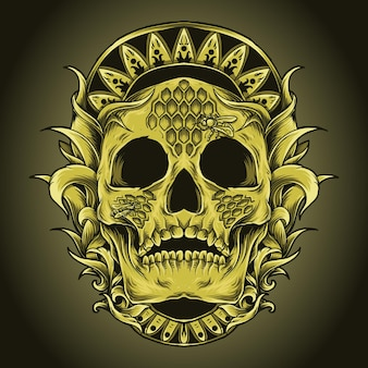 Artwork illustration and t-shirt design skull honey bee hive engraving ornament