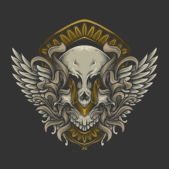 Artwork illustration and t shirt design skull with angel wing engraving ornament