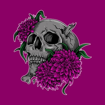 Artwork illustration and t shirt design skull with flower