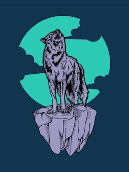 Artwork illustration and t shirt design wolf premium