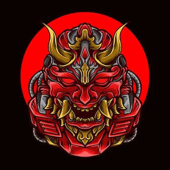 Artwork illustration and t-shirt  red oni robot