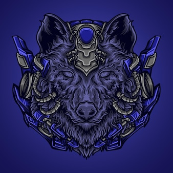 Artwork illustration and t-shirt  wolf robot