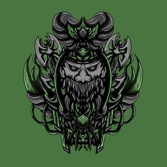 Artwork illustration of undead viking vector