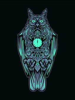 Иллюстрация и дизайн футболки сова орнамент премиум