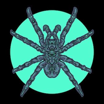 Иллюстрация и дизайн футболки паук орнамент