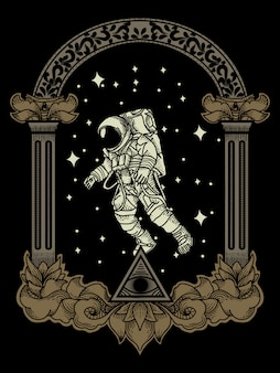 Artwork ilustration astronauts in univers space
