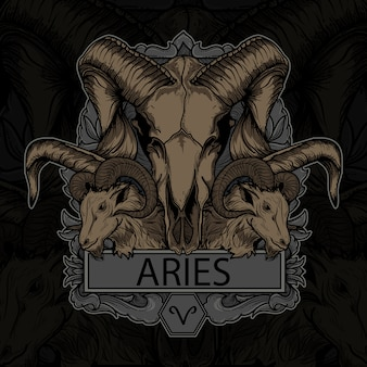 Artwork ilustration and tshirt design aries skull zodiac premium