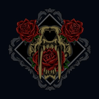 Artwork ilustration and tshirt design tiger skull and rose in ornament